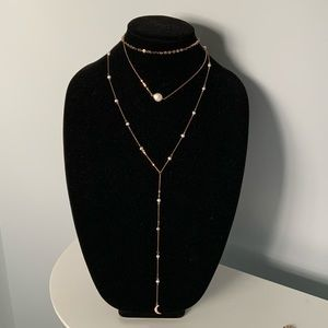 Faux Pearl Accented Layered Necklace